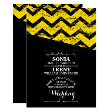 Wedding Themed Black and yellow Chevron Distressed Wedding Card