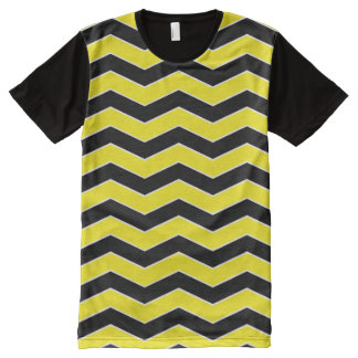 Black and Yellow Chevron Pattern All-Over-Print Shirt