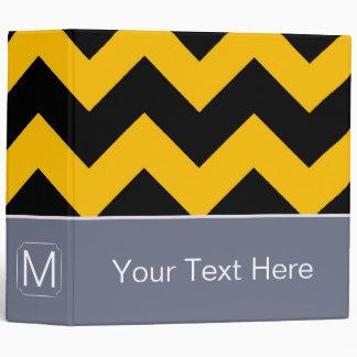 Black and Yellow Chevron Zigzag. Custom Monogram 3 Ring Binder