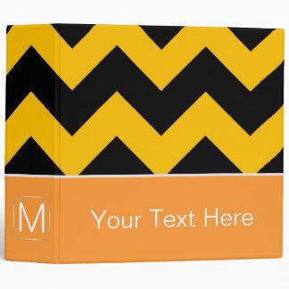 Black and Yellow Chevron Zigzag. Custom Monogram Binder