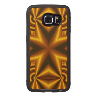 Black and yellow cross pattern wood phone case
