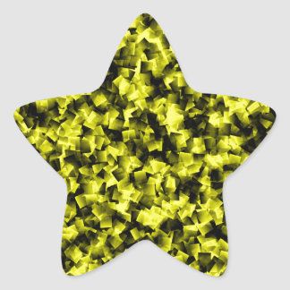 Black and Yellow cubism Star Sticker