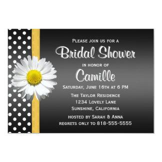 "Black and Yellow Daisy Bridal Shower Invitation 5"" X 7"" Invitation Card"