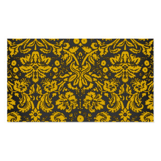 Black and Yellow Damask Business Card Templates