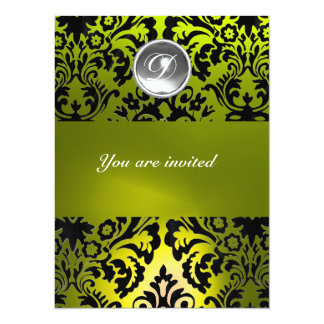 BLACK AND YELLOW DAMASK GEM STONE MONOGRAM CARD