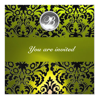 BLACK AND YELLOW DAMASK GEM STONE MONOGRAM 5.25X5.25 SQUARE PAPER INVITATION CARD