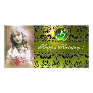 BLACK AND YELLOW DAMASK Green Emerald Monogram Card