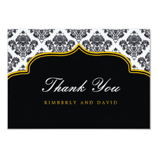 Black and Yellow Damask Label Thank You Card