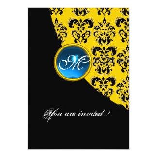 BLACK AND YELLOW DAMASK MONOGRAM,blue sapphire 5x7 Paper Invitation Card