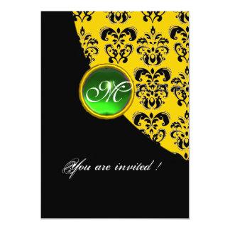 BLACK AND YELLOW DAMASK MONOGRAM,emerald green 5x7 Paper Invitation Card