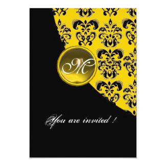 BLACK AND YELLOW DAMASK MONOGRAM,topaz 5x7 Paper Invitation Card