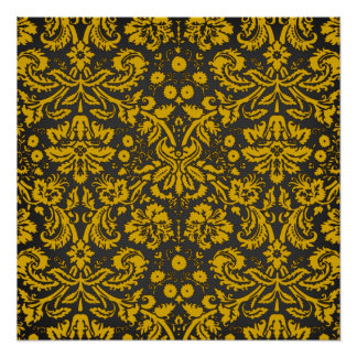 Black and Yellow Damask Poster