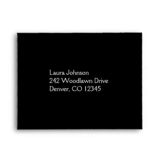 Black and Yellow Damask Return Address A2 Envelope