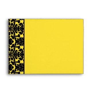 Black and Yellow Damask Return Address A7 Envelope