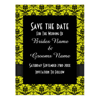 Black and yellow damask save the date postcard