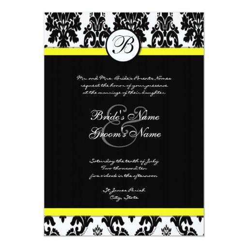 Black and Yellow Damask Wedding Invitation