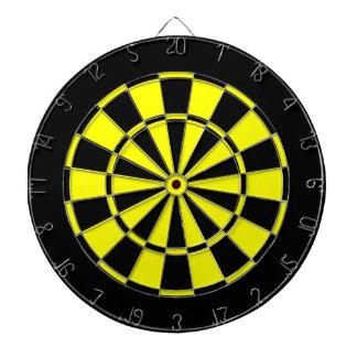 black and yellow dart board