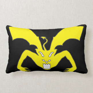 Black And Yellow Devil Lumbar Pillow