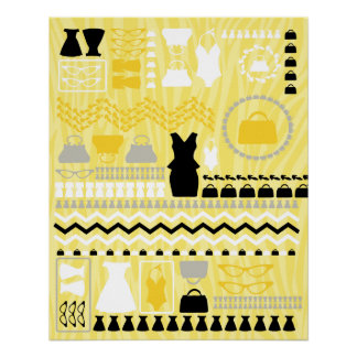 Black and Yellow fashion canvas Poster