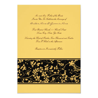 Black and Yellow Floral Accent Wedding Invitation