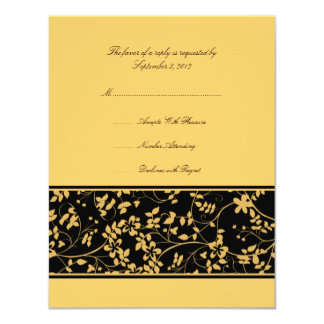 Black and Yellow Floral Accent Wedding RSVP Card