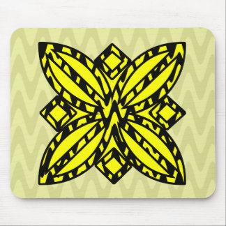 Black and Yellow Floral Mouse Pad