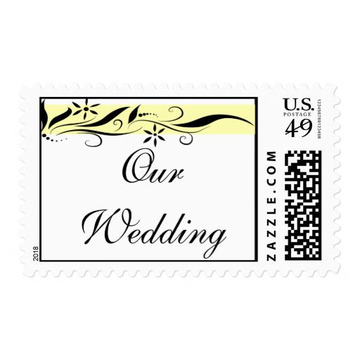 """Black and yellow floral """"Our Wedding"""" postage"""