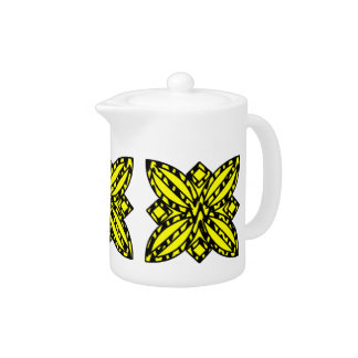 Black and Yellow Floral Teapot