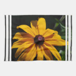 Black and Yellow Flower Kitchen Towel