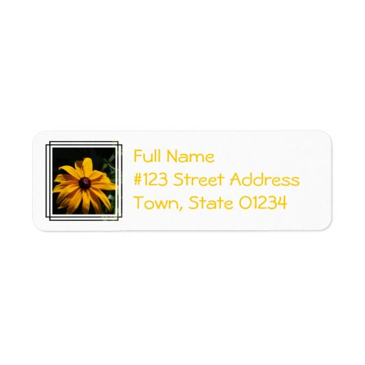 Black and Yellow Flower Mailing Label