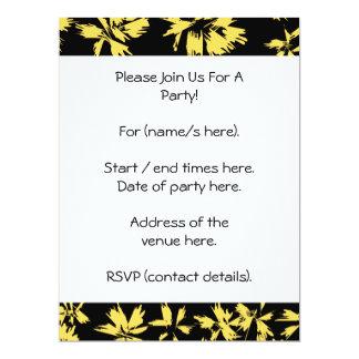 Black and Yellow Flowers. Custom Invite