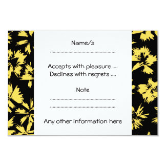 Black and Yellow Flowers. 3.5x5 Paper Invitation Card