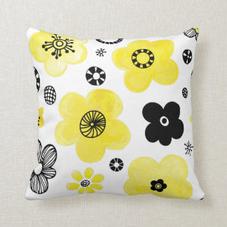 Black and Yellow Flowers Pillow