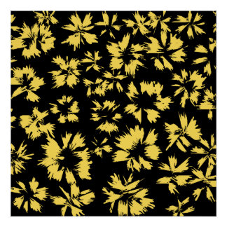 Black and Yellow Flowers. Print
