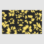 Black and Yellow Flowers. Rectangle Sticker