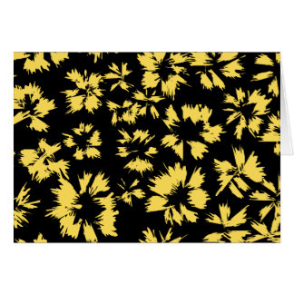 Black and Yellow Flowers. Stationery Note Card