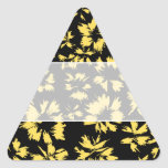 Black and Yellow Flowers. Triangle Sticker