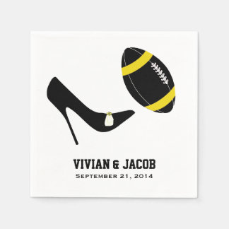 Black and Yellow Football Custom Wedding Napkin