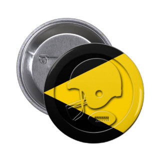 Black and Yellow Football Helmet and Ball Pinback Buttons
