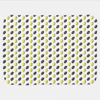 Black and Yellow Football Pattern Stroller Blanket