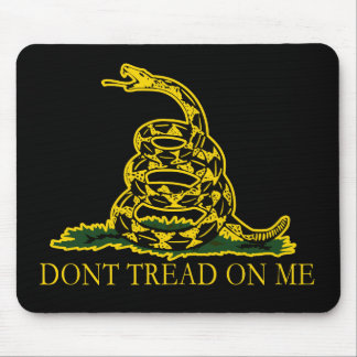 Black and Yellow Gadsden Flag, Don't Tread on Me! Mouse Pad