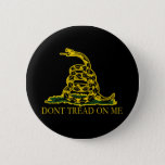 Black and Yellow Gadsden Flag, Don't Tread on Me! Pinback Button