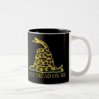 Black and Yellow Gadsden Flag, Don't Tread on Me! Two-Tone Coffee Mug