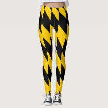 Black and Yellow Geometric Patterned Leggings