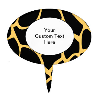 Black and Yellow Giraffe Print Pattern. Cake Topper