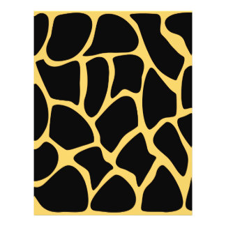 Black and Yellow Giraffe Print Pattern. Full Color Flyer