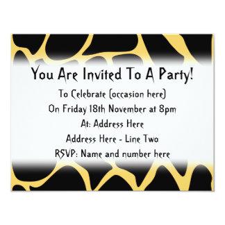 Black and Yellow Giraffe Print Pattern. 4.25x5.5 Paper Invitation Card