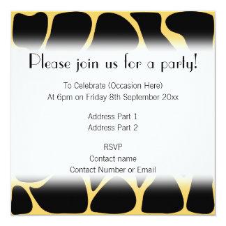 Black and Yellow Giraffe Print Pattern. 5.25x5.25 Square Paper Invitation Card
