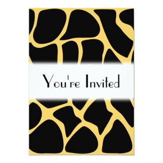 Black and Yellow Giraffe Print Pattern. 5x7 Paper Invitation Card