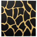Black and Yellow Giraffe Print Pattern. Printed Napkins